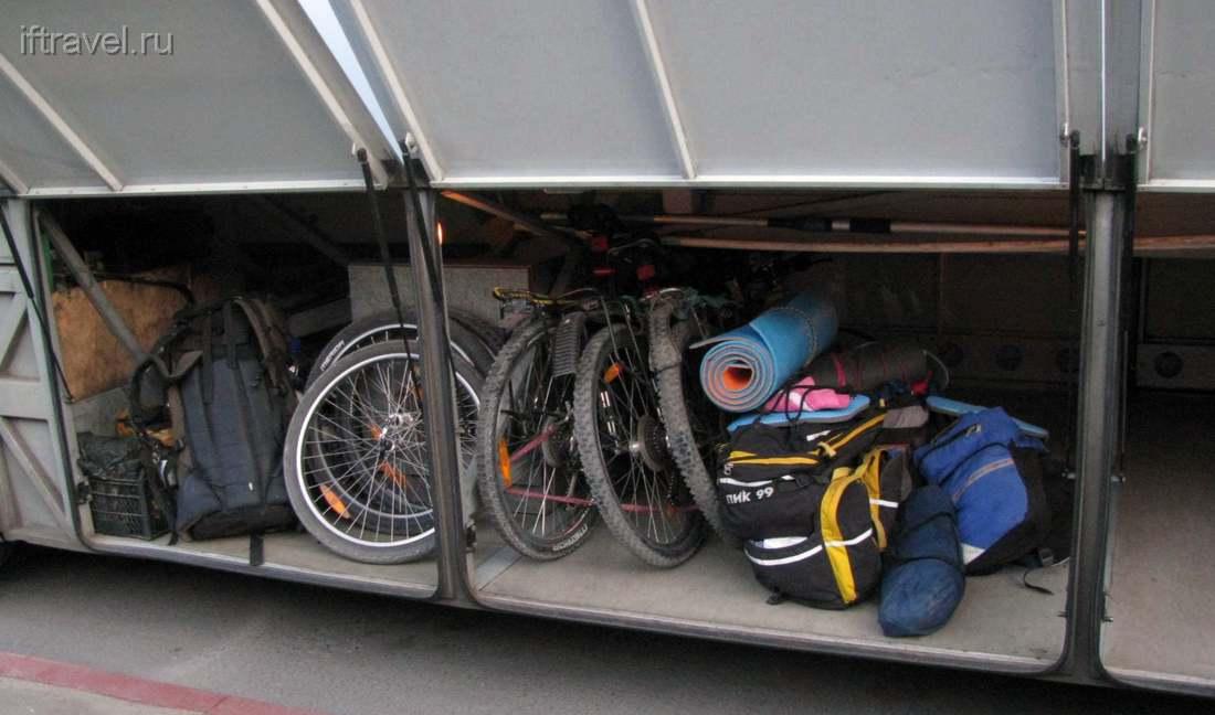 Велосипеды в багажном отделении автобуса