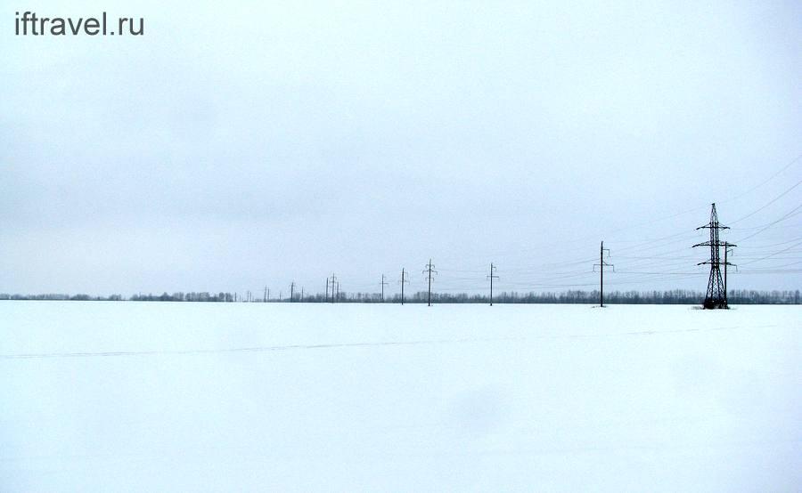 Пол, ЛЭП, снег