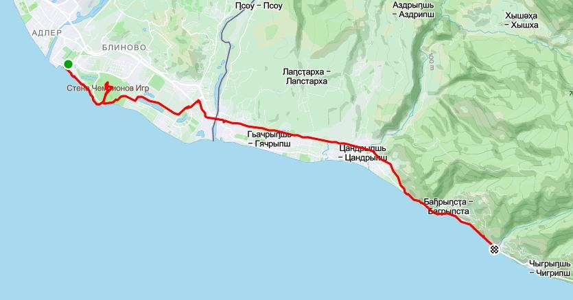 Адлер, Псоу, АБхазия (карта)